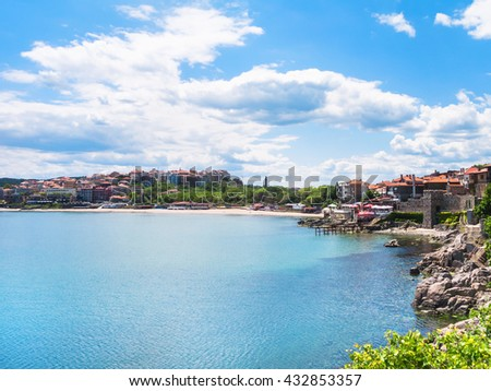 urban beach in Sozopol town - seaside resort on Black Sea coast in Bulgaria - stock photo