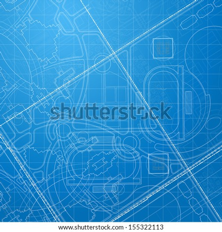 Urban Blueprint. Architectural background. Part of architectural project, architectural plan, technical project, drawing technical letters, design on paper, construction plan  - stock photo