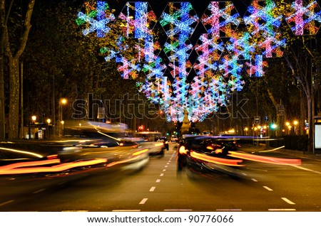 urban busy christmas time in downtown Barcelona, Spain - stock photo