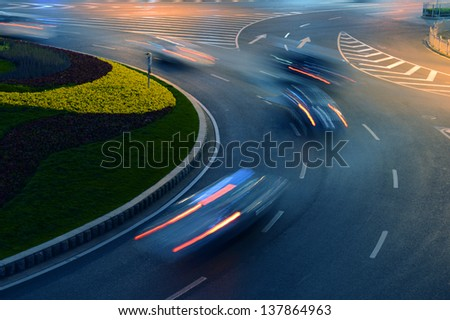 Urban city at night with light trails, shanghai China. - stock photo