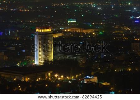 Urban City by Night - stock photo
