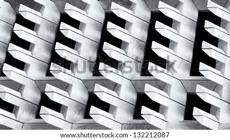 Urban city view, urban construction, architecture details and fragment in black and white, architecture fragment in black and white photo, abstract in B&W, architecture detail close up, composition - stock photo