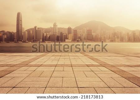 urban cityscape at dawn - stock photo