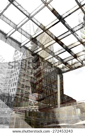 Urban conceptual grey monochrome blurred pattern with construction and buildings. Collage, Double Exposure effect - stock photo