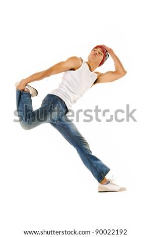 urban dancer jumps and leaps through the air - stock photo