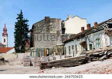 Urban demolition site - stock photo