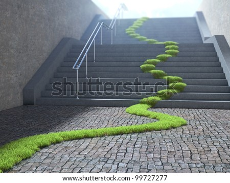 Urban ecology concept - grass strop over stairs - stock photo
