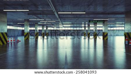 urban empty parking. 3d concept - stock photo