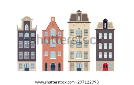 Urban european houses in different architectural styles and colors.  - stock photo