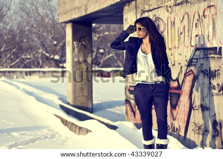 Urban Fashionable girl - stock photo