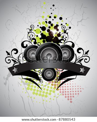 Urban grungy music background with place for text, vector - stock photo