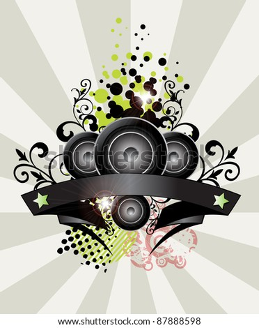 Urban grungy music banner with place for text, raster - stock photo