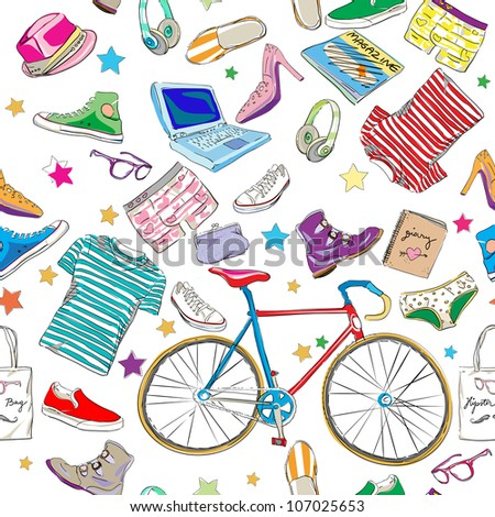 urban hipster accessories pattern, smart colored doodles over white - stock photo