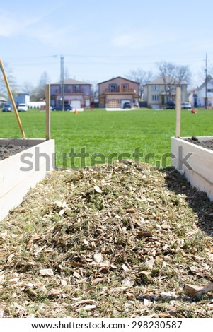 Urban Horticulture - A community vegetable garden being built  - stock photo
