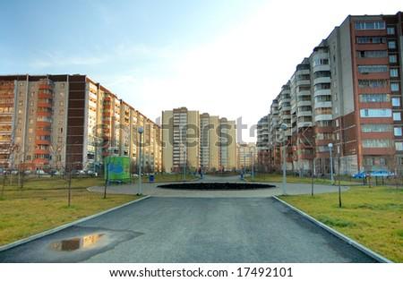 urban landscape - buildings, street, alley - stock photo