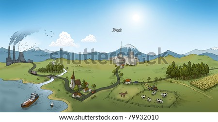 urban landscape, illustration - stock photo