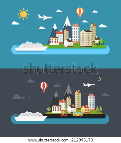Urban landscape in flat style. City by day and night illustration - stock photo