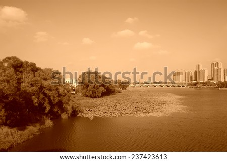 Urban landscape in the autumn, closeup of photo, China - stock photo