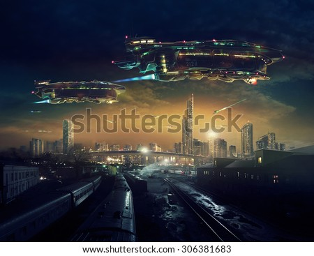 Urban landscape of post apocalyptic future with flying spaceships.  	 Life after a global war. Digital art. - stock photo