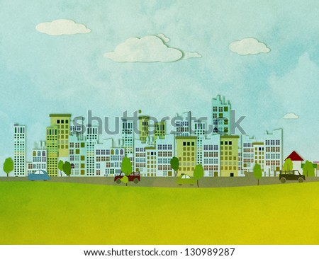 urban landscape with trees - stock photo
