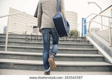 urban man city life walking - stock photo