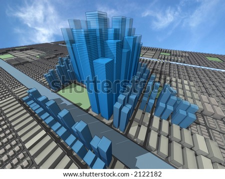 Urban model of the city organized on rectangular matrix, with skyscrapers, commerce, big and small residencial - stock photo