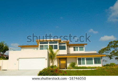 Urban Modern Luxury Home with Stylish Square Design Features - stock photo