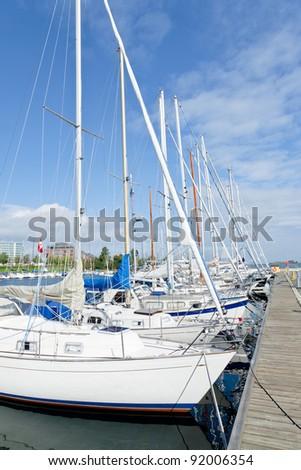 Urban mooring of boats in Copenhagen, Denmark - stock photo