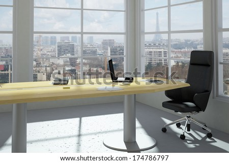 Urban office with skyline view - stock photo