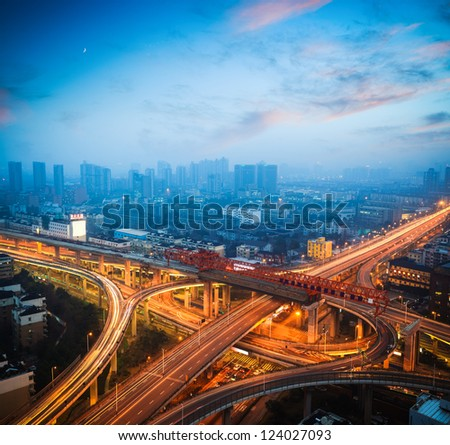 urban overpass at dusk,city traffic background - stock photo