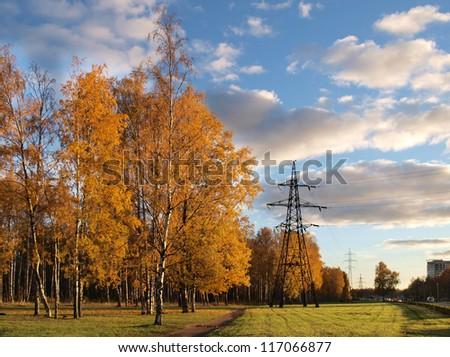 Urban park autumn landscape in the autumn - stock photo