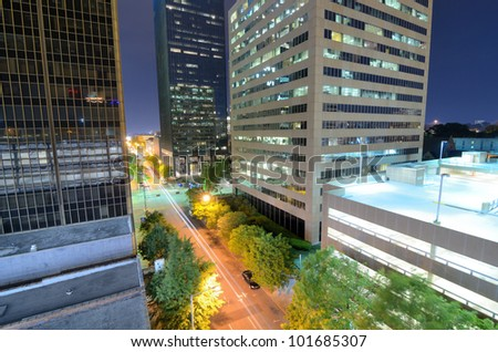 Urban scen along 5th Ave in downtown Birmingham, Alabama. - stock photo