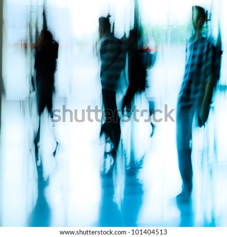 urban scene running business people crowd blur abstract background - stock photo