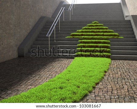 Urban scene with arrow shaped grass patch growing on a stairway - stock photo