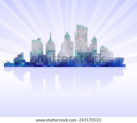 Urban silhouette of a modern city on the horizon - stock photo