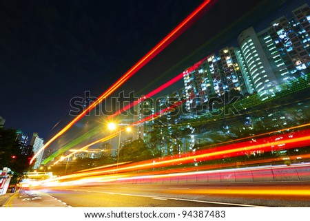 urban traffic at night - stock photo