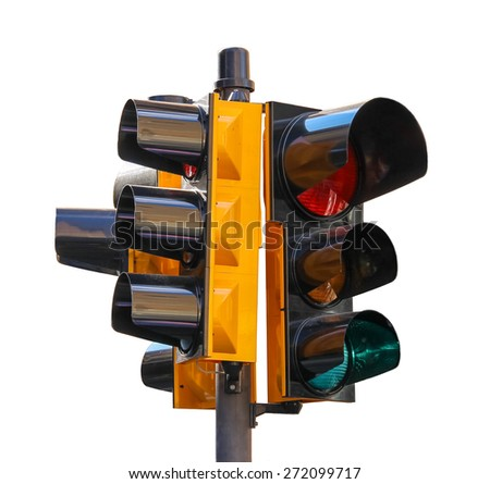 Urban traffic light isolated on white background - stock photo