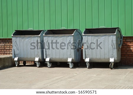 urban trash containers in backyard - stock photo