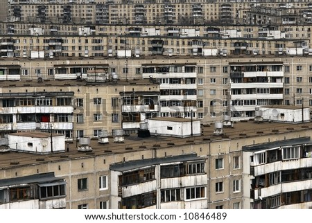 Urban view, overpopulation - stock photo