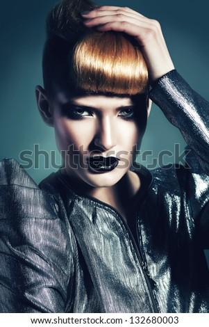 urban woman in silver jacket - stock photo