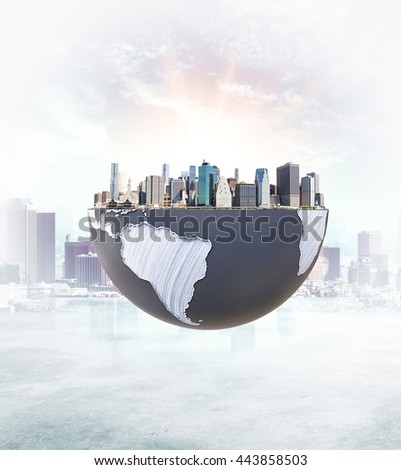 Urbanization concept with globe and city on abstract background with sunlight. 3D Rendering. Elements of this image furnished by NASA - stock photo