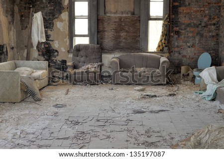 Urbex, abandoned house interior with cracked asbestos tiles, in light HDR processing - stock photo