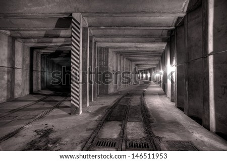 Urbex - Abandoned underground tunnel, in light HDR processing - stock photo
