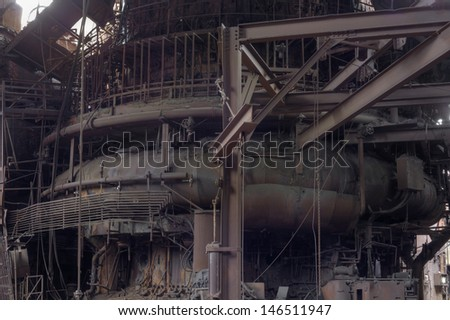 Urbex - Old american industry: steel mill furnace, processed in light HDR - stock photo