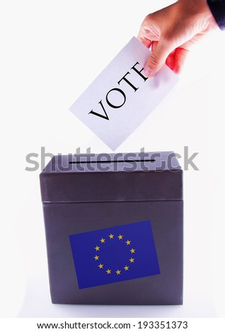 Urn for vote, with male hand posting vote and european banner - stock photo