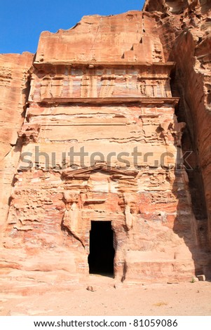 Urn Tomb in Wadi al-Farasa valley, Petra, Jordan - stock photo