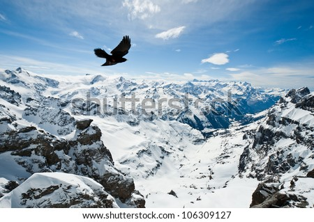 Urner Alps, view from top of Titlis mountain, Obwalden, Switzerland - stock photo