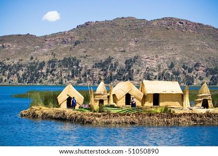 Uros Floating Islands, Lake Titicaca, Peru - stock photo