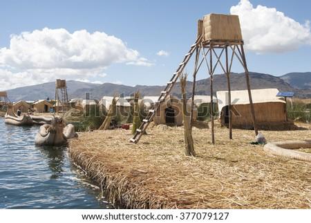 Uros Islands - Lake Titicaca - Peru - stock photo