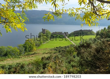Urquhart castle, by Loch Ness / Loch Ness is Scotland's most famous lake. - stock photo